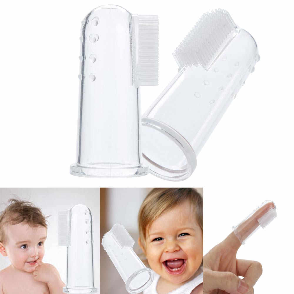 Cute Baby Finger Toothbrush With Box Children Teeth Clear Massage Soft Silicone Infant Rubber Cleaning Brush Massager Set