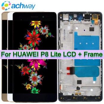 Huawei P8 Lite pantalla LCD asamblea de pantalla táctil digitalizador con marco de ALE-L04 ALE-L21 para 5,0