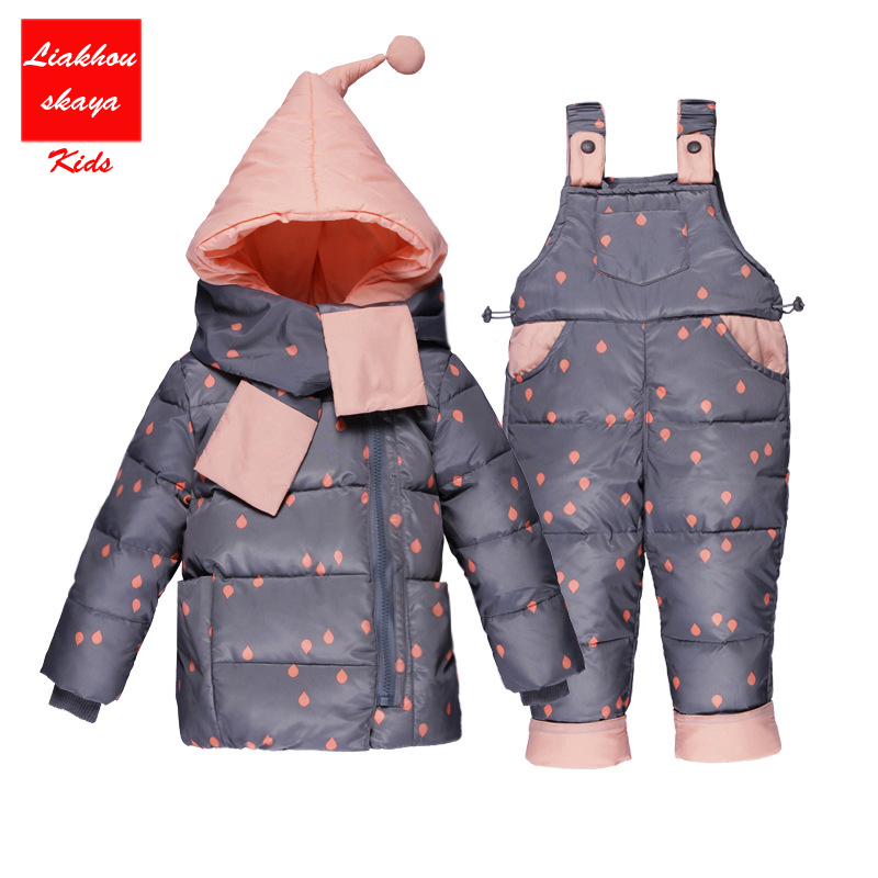 2017 Russia Kids Winter Thick Duck Down Children Baby Snow Suits Down Jacket Overalls For Kids Girls Outerwear -20 degree Warm baby winter warm ski suits thick down