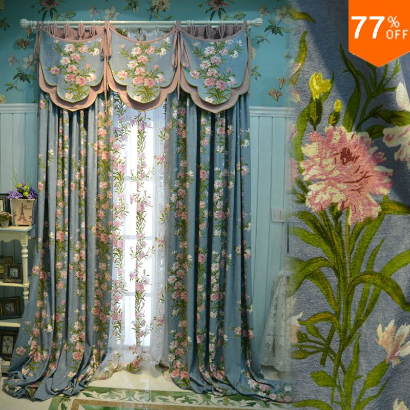 New sky Blue basket pink flowers powder room curtains Rod Stick ...