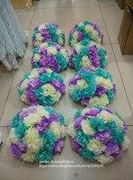 Benutzerdefinierte hochzeit dekorative blumen balls, DIY pack enthält rose hydrangea köpfe und halbkugel weiß rot gelb, orange, grün blau