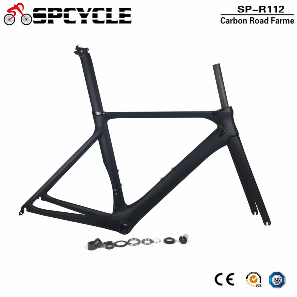 Spcycle Ultraligh Aero Carbon Fiber Road Bike Frame UD Matte Carbon Racing Bicycle Frameset With Frame Fork Headset Seatpost 53cm 55cm 58cm fixed gear bike frame matte black bike frame fixie bicycle frame aluminum alloy frame with carbon fork