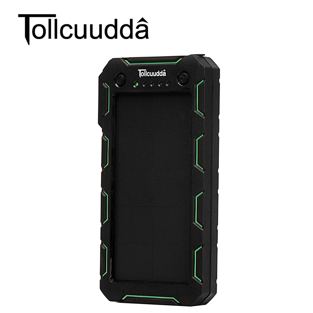 imágenes para Tollcuudda Batería Externa 15000 mAH Banco de la Energía Solar Portátil Cargador Dual USB Powerbank Cargador Para todos los teléfonos Móviles
