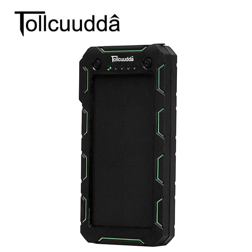 bilder für Tollcuudda Externe Batterie 15000 mAH Solar Energienbank Portable Dual USB Ladegerät Powerbank Ladegerät Für alle handys