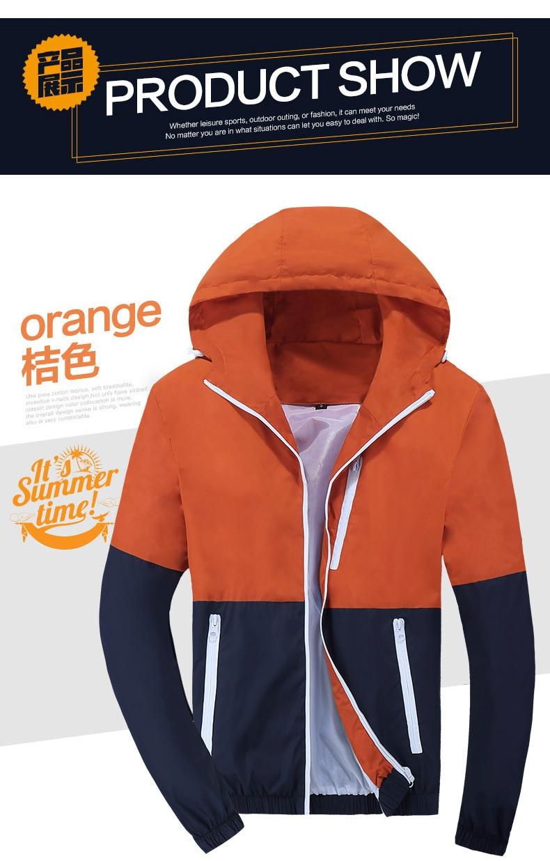 Jacket Men Windbreaker 2019 Spring Autumn Fashion Jacket Men's Hooded Casual Jackets Male Coat Thin Men Coat Outwear Couple
