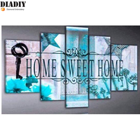 5pc 5D DIY Diamond Painting Home Sweet Home Embroidery Full Round Diamond Cross Stitch Rhinestone