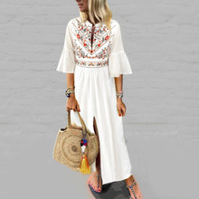 Ethnic Style Print Dress High Split Bell Sleeve Bohemian Holiday Dress  Plus Size Dress  Long Dress Sukienki Damskie  60j191 plus flower applique knot bell sleeve bardot dress