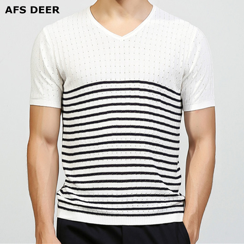 Brand Clothing Slim Fitted Summer T shirt Male V Neck Knitted Sweater Striped Men Top Tees Cool Breathable <font><b>Tshirt</b></font> size M-3XL image
