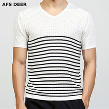 Brand Clothing Slim Fitted  Summer T shirt Male V Neck Knitted Sweater Striped Men Top Tees Cool Breathable Tshirt size M-3XL
