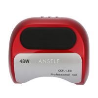 Anself 48W LED + CCFL Nail Lamp Nail Gel Dryer Nail Curing Machine Fingernail 110 240V Nail Art Painting Salon Tool Red EU Plug