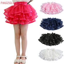 Fluffy Children Girls TuTu Skirts Girl Dance skirts With Satin Ribbon Bowknot Princess Layered skirt Bubble Skirt 2-10Y
