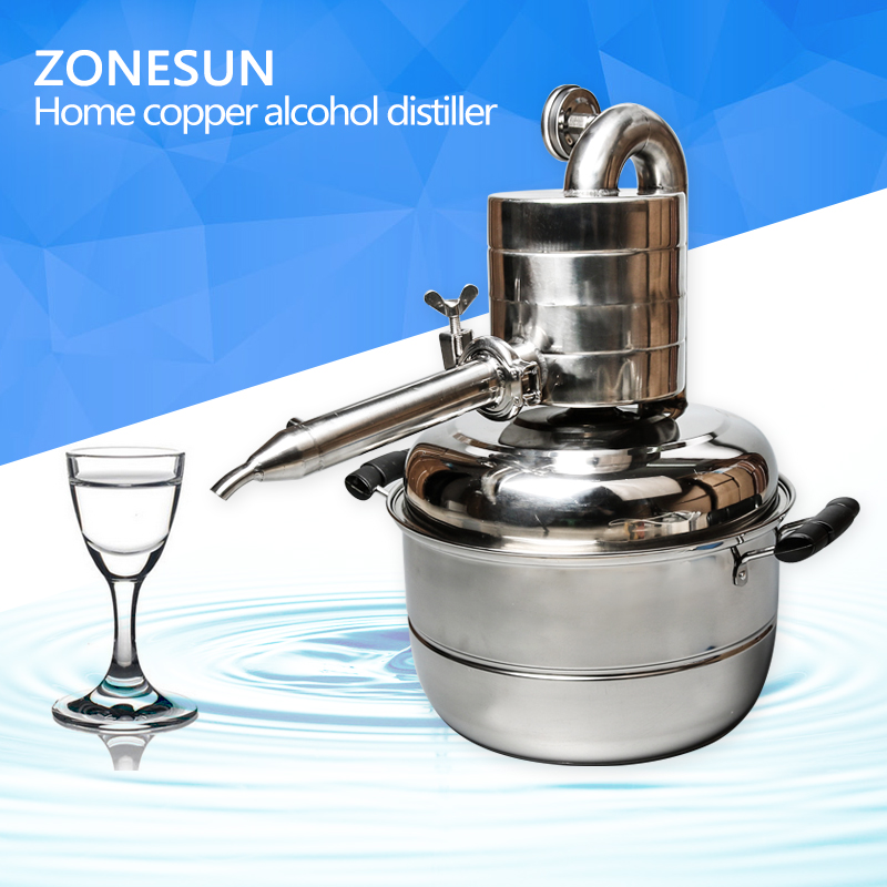 ZONESUN High Quality! Household Stainless Steel 10L Home Alcohol Distiller With Thermometer Spirits(Alcohol) Distillation Boiler alcohol meter alcoholmeter with hydrothermograph for distiller alcohol hydrometer alcoholmeter set 0 to 100