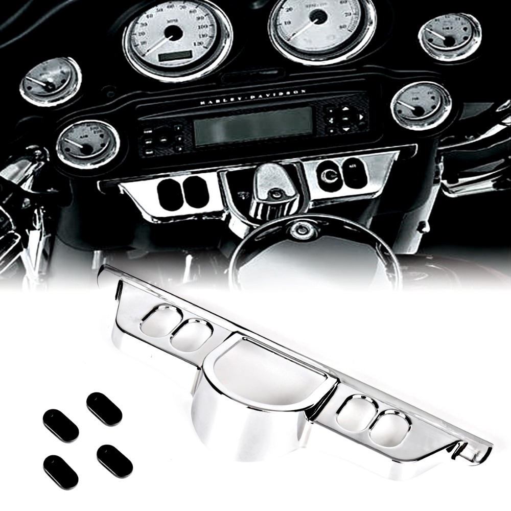 Chrome Switch Dash Panel Accent Cover For Harley Street Glide 06-13 Triks 09-13 Electra Glide 96-13 Models