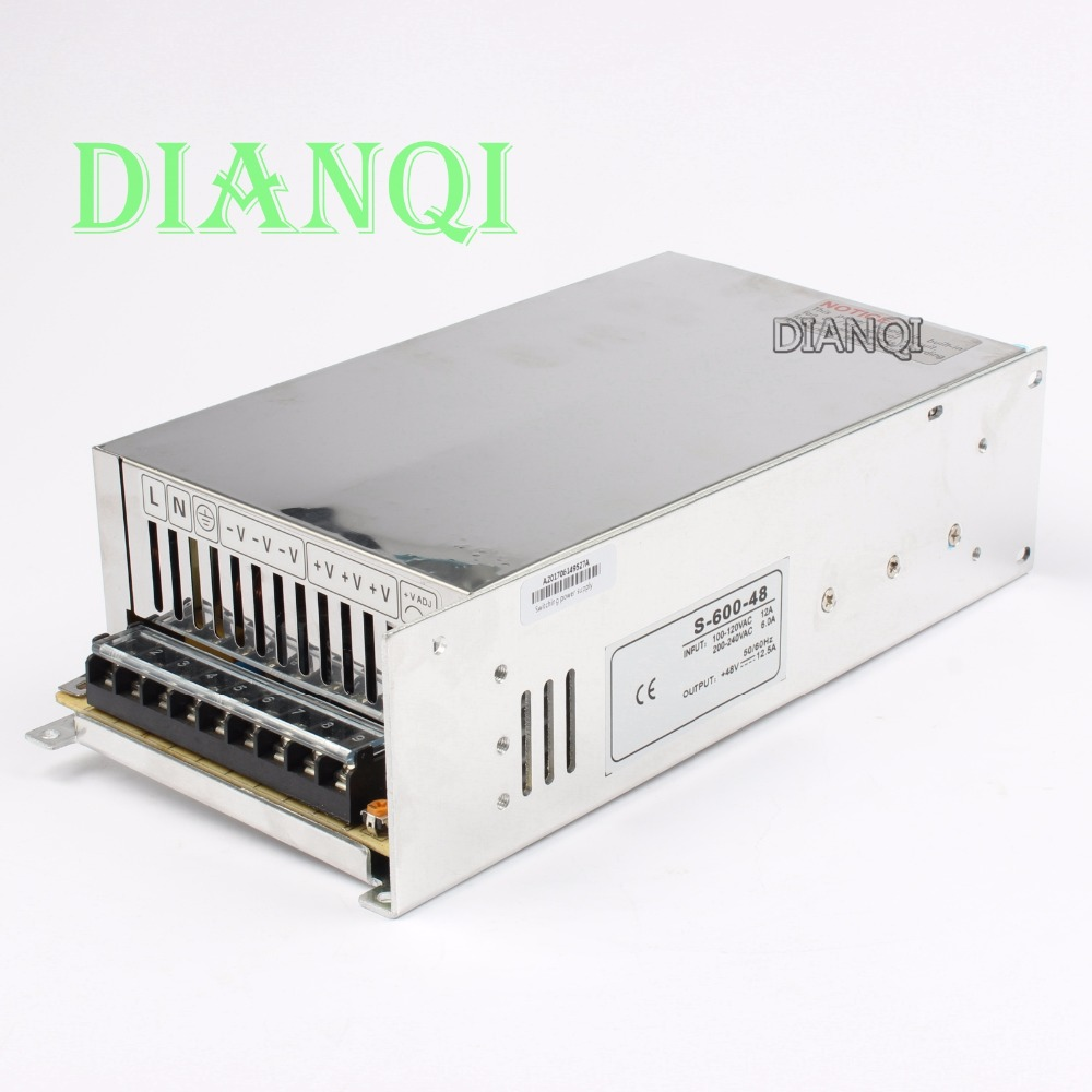 DIANQI led power supply switch 600W48v 12.5A ac dc converter Input 110V or 220V S-600w 48v switching power supply 12.5A S-600-48 110v ac input 200w switching power supply dc48v dc power supply 48v 4a model s 200 48