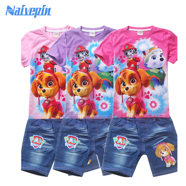 Girls Puppy patrol T shirt clothes set for boys dogs cartoon cotton clothing sets 2017 Top tee sets for girls boys summer