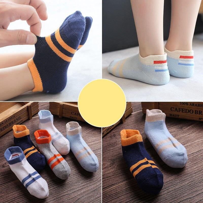 10Pcs/lot Spring Summer children's socks Mesh Cotton Socks for a boy Striped Solid socks for children Girls Kids Sport Socks 4