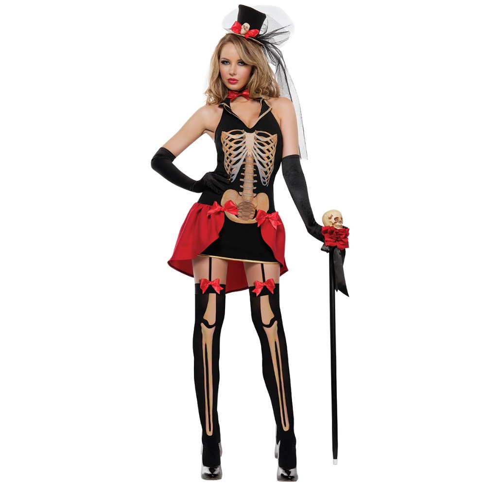 UTMEON Halloween Costumes For Women's Vampire Costume Zombie Ghost Bride Cosplay Fancy Dress Mini Dress Skeleton Cosplay Costume