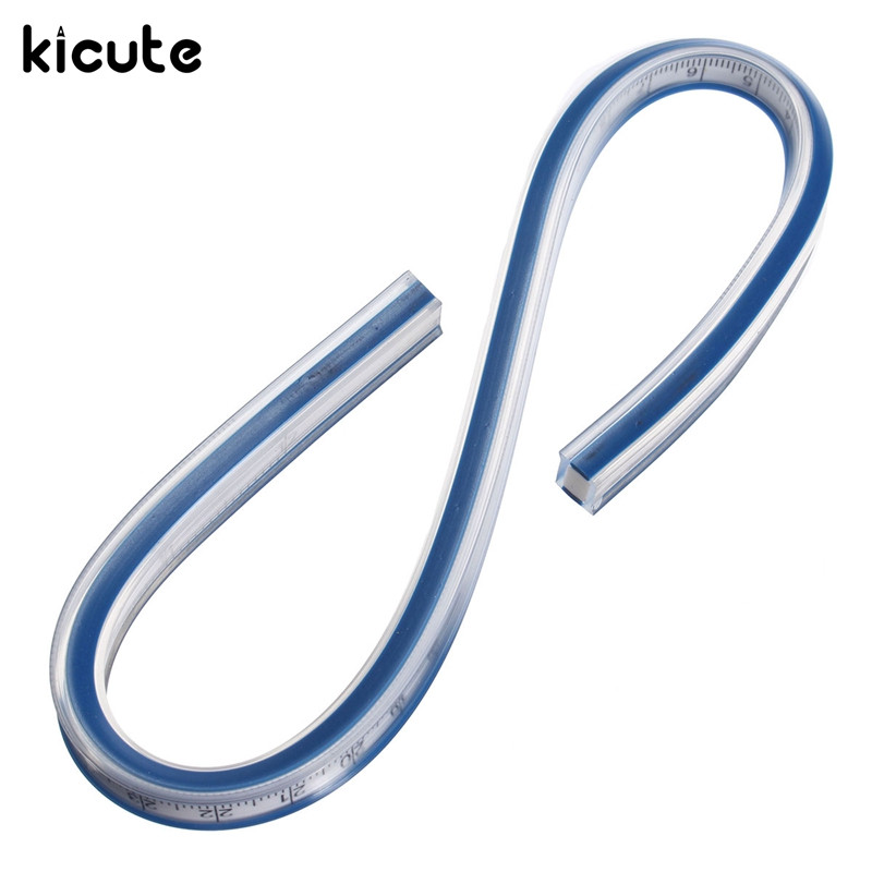 Kicute Flexible Vinyl Plastic Drafting Drawing Curve Ruler 30CM Paint Draw Bendy French Curve Drafting Rulers School Supplies
