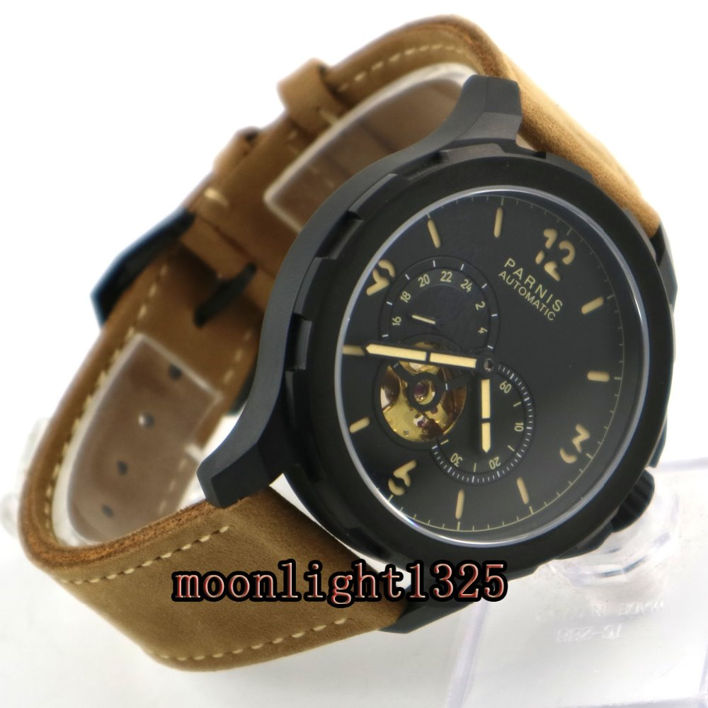 44mm Parnis sandwich dial PVD case Sapphire glass miyota Automatic Mens Watch цена и фото