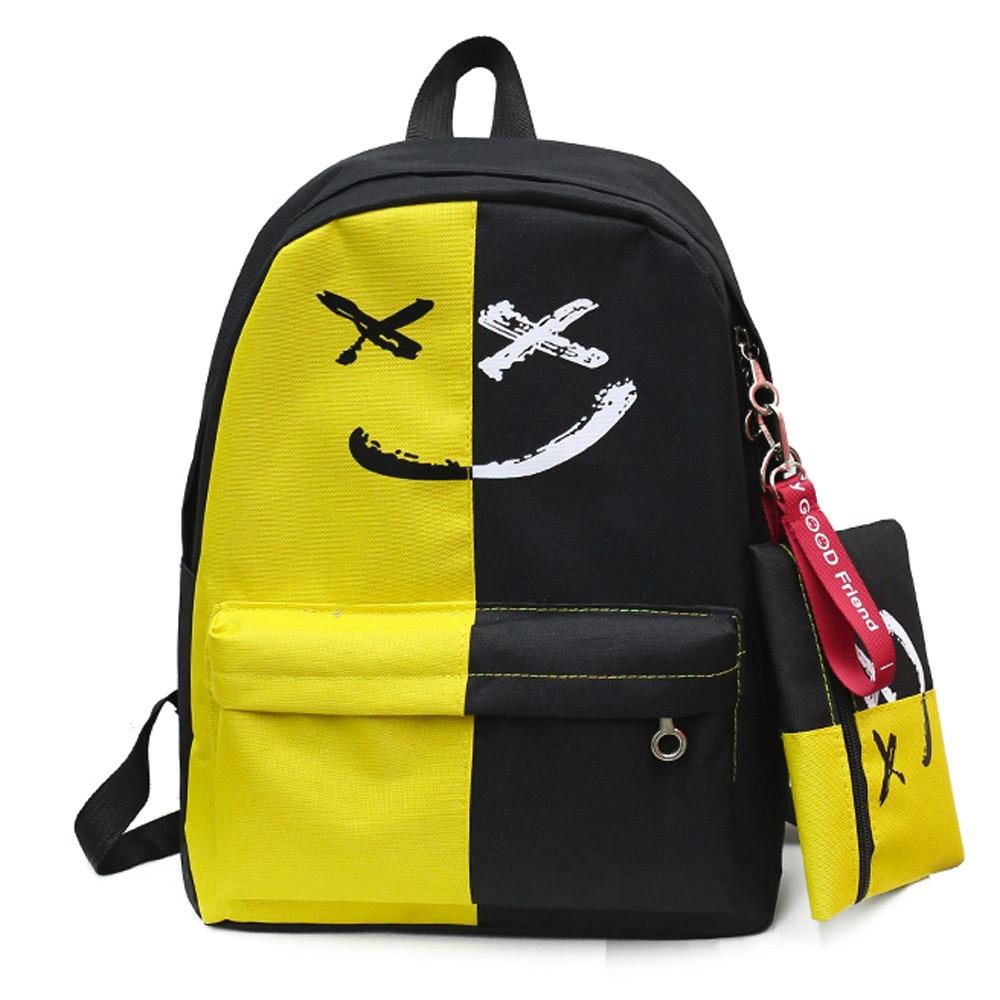 2pcs Pencil Student Backpacks Women Smile Patchwork Shoulder Bookbags School Travel Backpack+small Bag Hit Color Backpacks#23 Women's Bags Backpacks