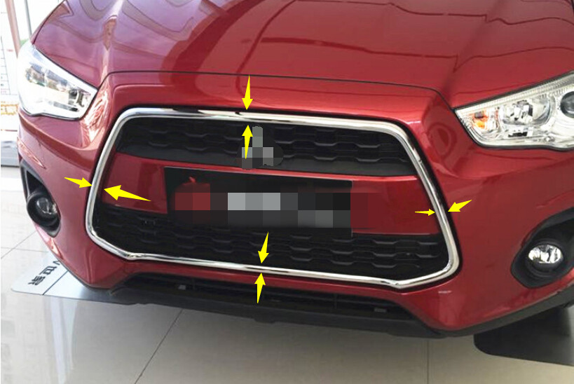 Bright Surface Chrome Front Grill Grille Frame Cover Trim For Mitsubishi RVR/ ASX Outlander Sport 2013 2014 2015 car styling interior speaker audio ring cover decoration trim for mitsubishi asx outlander sport us 2013 2014 2015 2016 page 8
