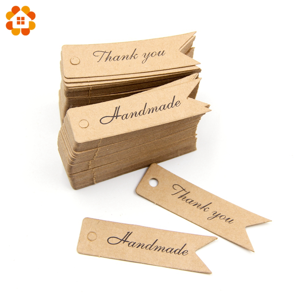 100PCS Handmade/Thank You DIY Kraft Paper Tag Dovetail shapes Label Luggage Wedding Party Note Kraft Gift Wrapping Supplies