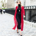 Women Plus Size Lace Trench Coats 2016 Summer New Vintage Long Sleeve Red Maxi Long Coat Casaco Feminino 2887
