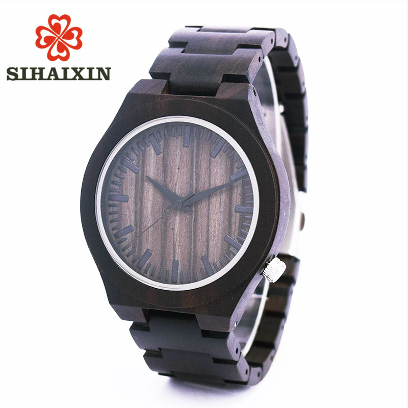 SIHAIXIN Wooden Watch Male Timepiece Simple Black Design Men Top Brand Wrist Watches Nature Hand-made Bamboo Quartz Clock Man De fashion top gift item wood watches men s analog simple bmaboo hand made wrist watch male sports quartz watch reloj de madera