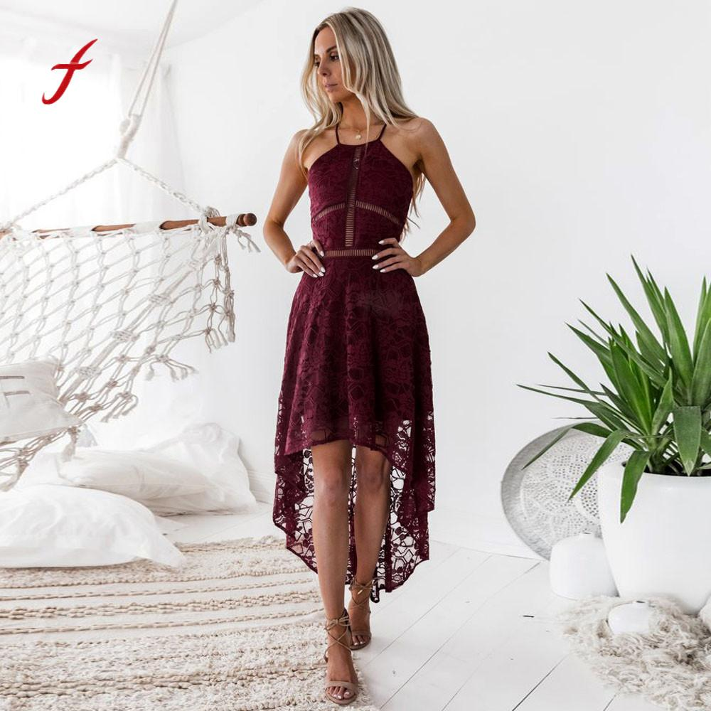 Womens Dress Backless Sleeveless Formal dress Prom Party Wedding lace Ball Gown long vestidos Asymmetrical