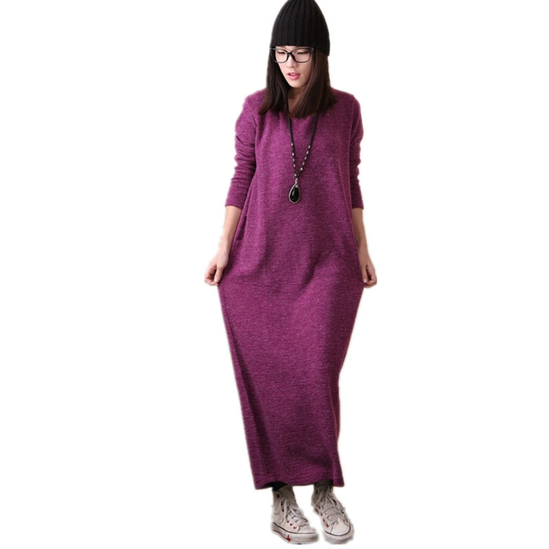 Free Shipping 2016 New Autumn And Winter Dresses For Women Loose Plus Size XXL Casual Knitted Cotton One-piece Long Sleeve Maxi free shipping 2017 new fashion summer denim bib pants loose plus size 3xl jumpsuit and rompers women shorts cotton jeans casual