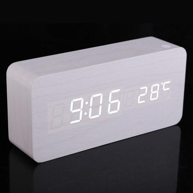 Moderner Wecker moderne rechteck holz digital white led licht wecker mit kalender