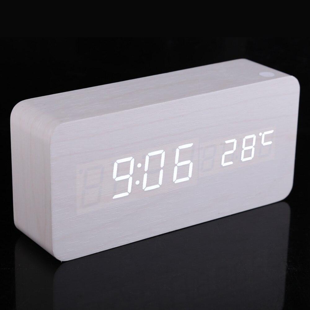 Moderne Rectangle En Bois Numérique Blanc LED Lumière Alarme Horloge avec Calendrier desplay a de contrôle acoustique de détection