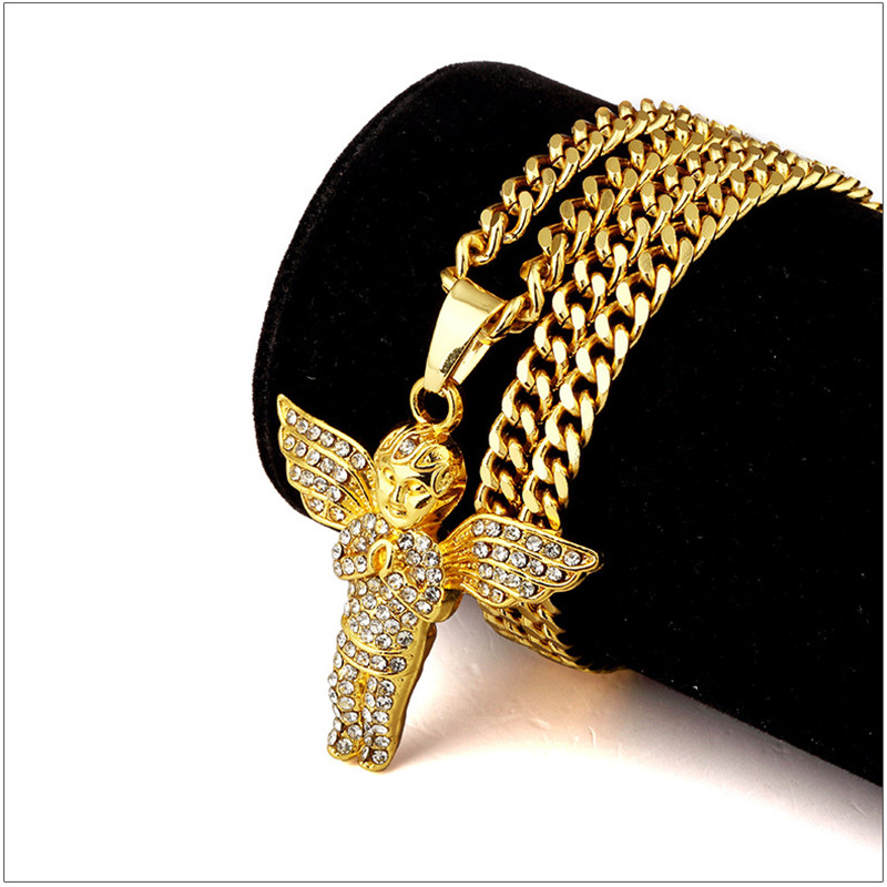 Golden full crystal iced out angel wings charm angel for Bling jewelry coupon code