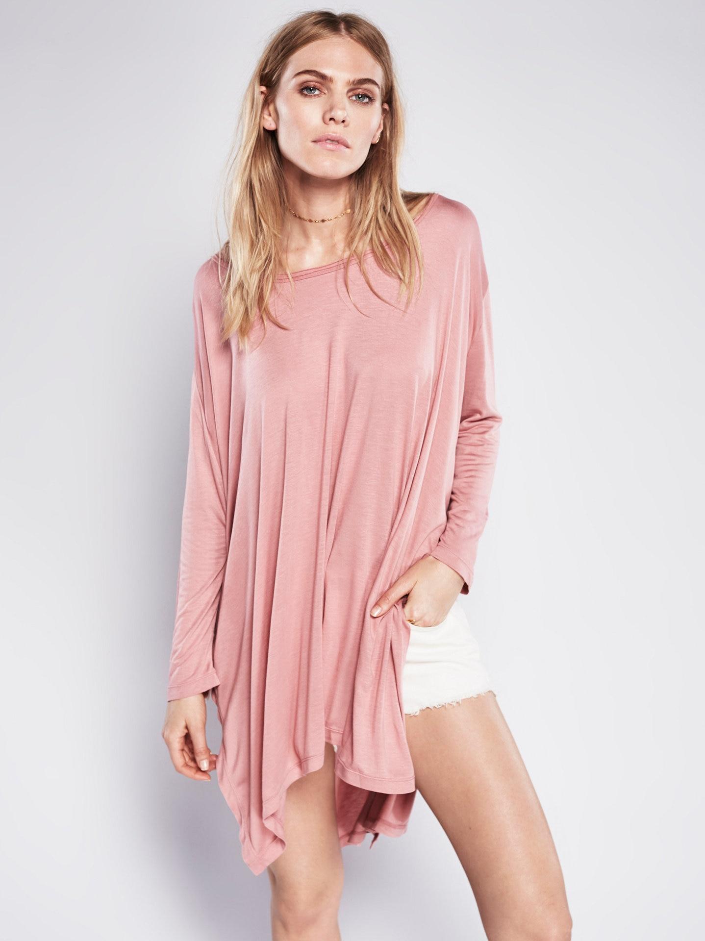 d1aa0246e8f ④2018 новые женские свободные платья сплошной цвет Сплит платье с ...
