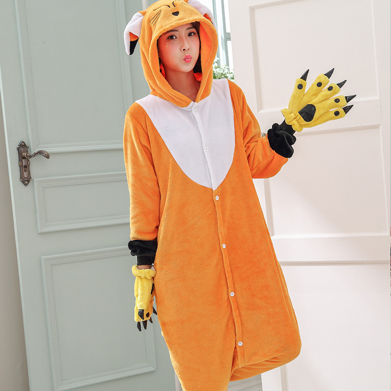 Kawaii Fox Kigurumi Onesie Animal Cartoon Sleepwear Pajama Orange White Soft Onepiece Adult Women Winter Suit Festival Outfit (4)