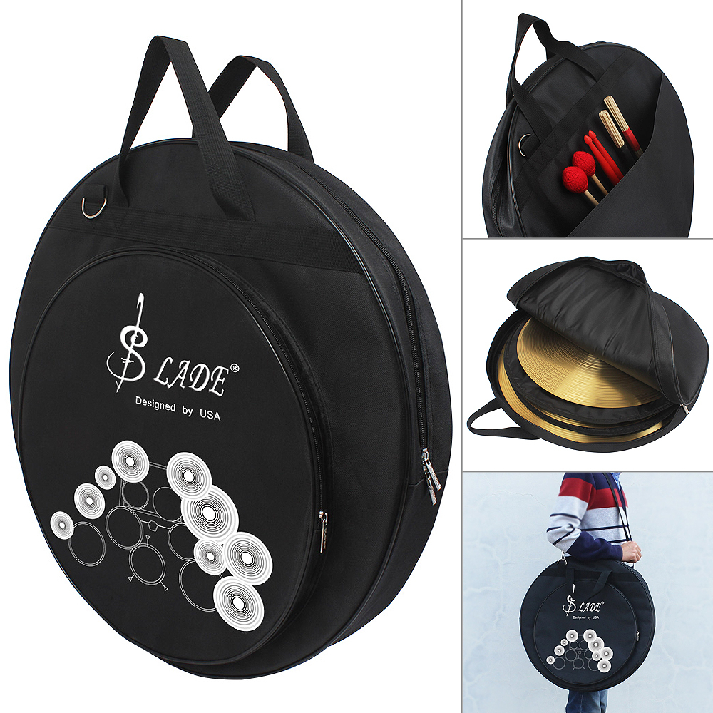 SLADE Three Pockets Cymbal Drum Sticks Storage Bag Protable Gig Shoulder Bag For 8-20 Inch Cymbal And Drum Sticks