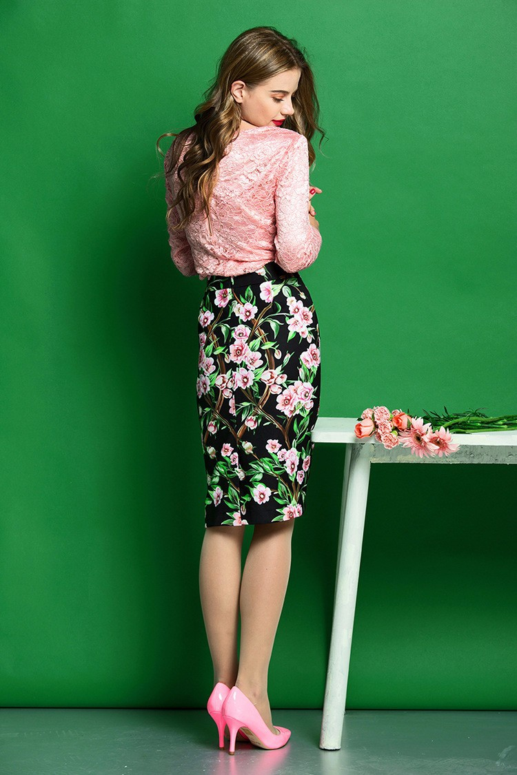 Elegant Women Skirt Suits Long Sleeve Lace Blouse and Floral Print Slim Fit Pencil Skirt Women Business Work Wear (2)