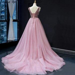 Image 4 - Dubai Design rouge haricot Sexy robes de soirée 2020 paillettes cristal sans manches étincelle robe formelle vraie Photo 66713