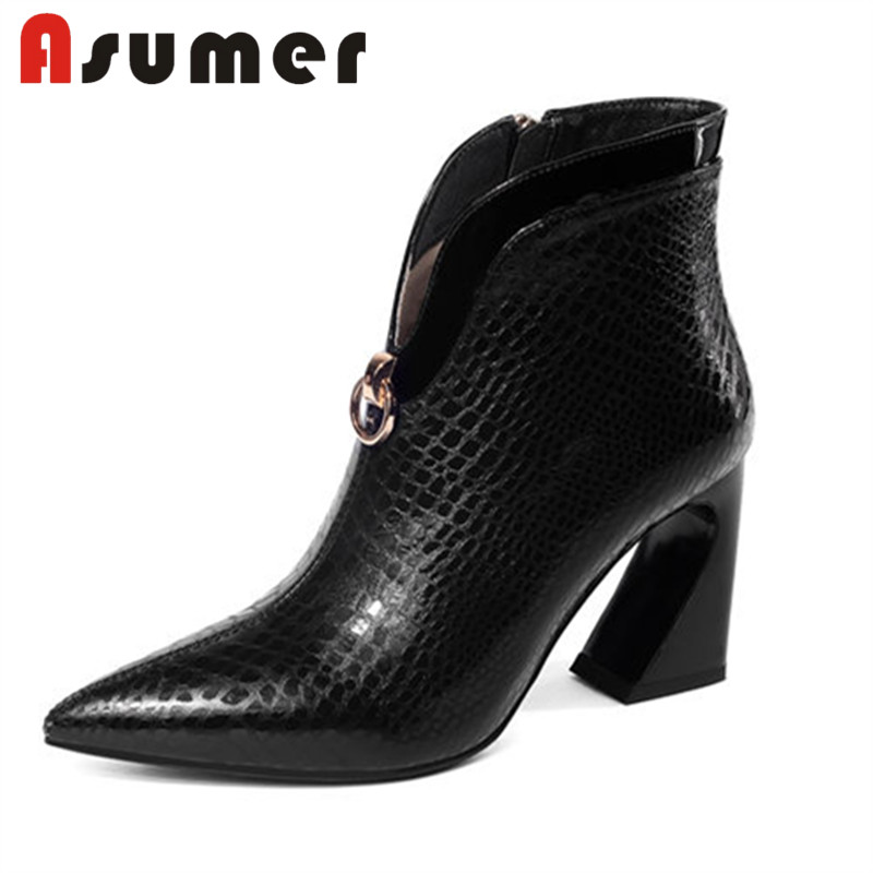 ASUMER NEW 2018 hot sale zipper ankle boots for women solid fashion high heels boots pointed toe sexy genuine leather boots