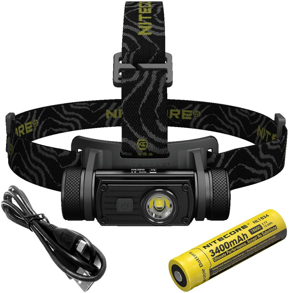 SALE NITECORE HC60 HC60W CRI Headlamp CREE XM L2 U2 1000Lumen Headlight Waterproof Flashlight Torch Camping