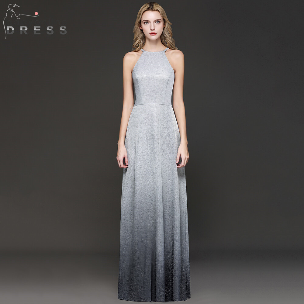New Arrival Bright Silk Ombre Long Evening Dress 2019 Halter Neck Sleeveless Evening Gowns Robe de