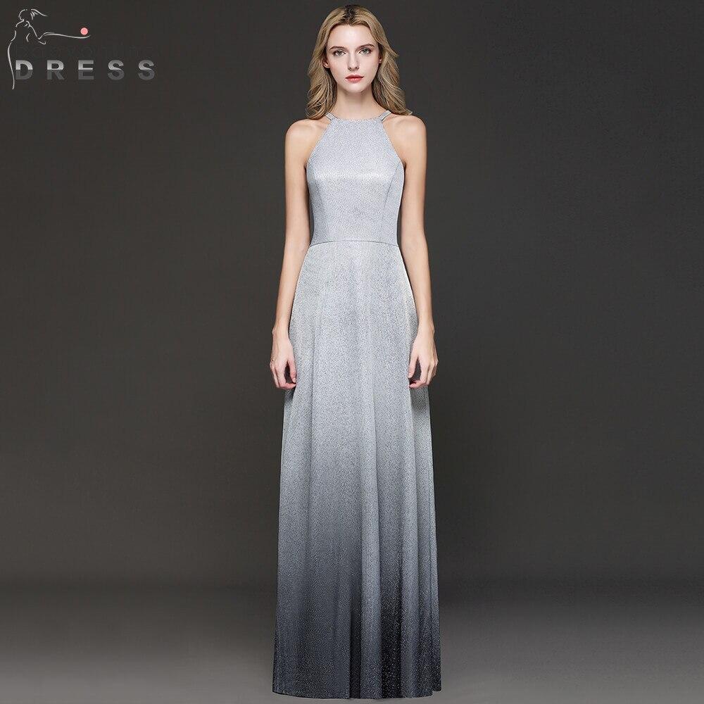 New Arrival Bright Silk Ombre Long   Evening     Dress   2019 Halter Neck Sleeveless   Evening   Gowns Robe de Soiree Longue