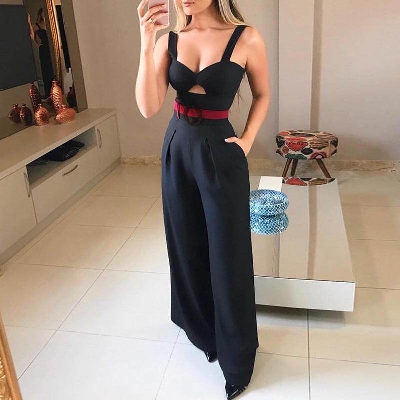Larghi Donne Cintura Di Del Signore Della Cut Pantaloni out Estate Piedino Con Pagliaccetto Torsione Sexy Nuovo 2019 Modo Anteriore Tuta dInwqIaz