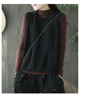2018 New Cotton And Linen Vintage Autumn And Winter Solid Color O Neck Sweater Female Chinese