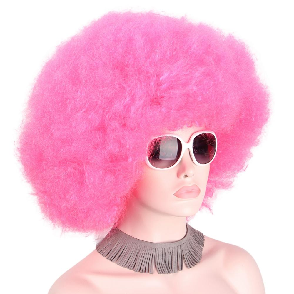 Afro Pink Wig Cap Big Top Football Fans Cosplay Wigs for Adults Unisex Curly Halloween Synthetic Hair for Black Women Men Anxin