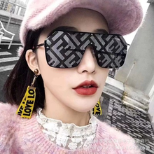 1a96e747390 LOUI GOZLUK Square F Letter Print Women Sunglasses 2019 Luxury Brand One  Piece