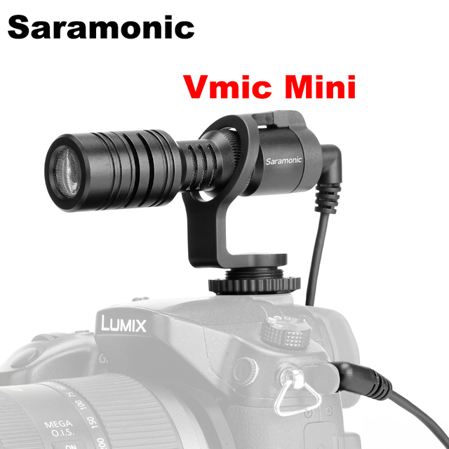 Saramonic Vmic Mini Condenser Microphone with TRS & TRRS Cable Vlog Video Recording Mic for iPhone Android Smartphones PC Tablet