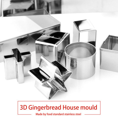 10pcs 3D Gingerbread house Stainless Steel Christmas Scenario Cookie Cutters Set Biscuit Mold Fondant Cutter Baking Tool 4
