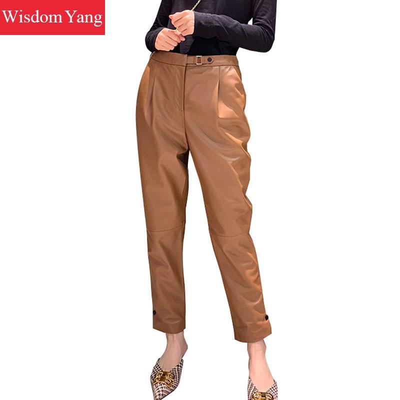 Automne noir Beige véritable peau de mouton véritable cuir crayon pantalon femme 2018 dames femmes pantalon taille haute longue nuit pantalon