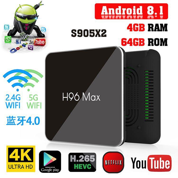 H96 MAX X2 4 K Android TV BOX H.265 lecteur multimédia Smart TV Box Amlogic S905X2 décodeur Android TV BOX Smart TV pour IPTV HDMI